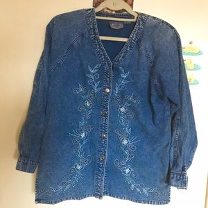Jackets & Blazers - Vintage Floral Embroidered Denim Jacket